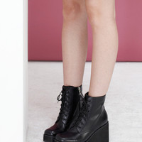Leather Platform Wedge Boot Black