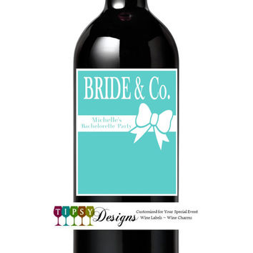 Bachelorette Party Wine Bottle Labels Tiffany & Co. Inspired Set of 4 Bridal Shower