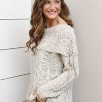 Taupe Fold Over Sweater