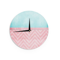 "Ingrid Beddoes ""Light Chevron Pink & Turquoise"" Blush Aqua Wall Clock"