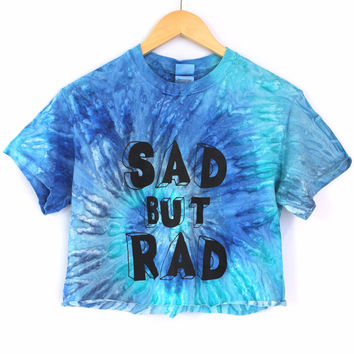 Sad But Rad Blue Tie-Dye Graphic Crop Top