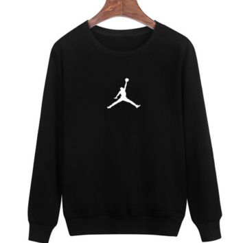 Black Jordan Print Men's Long Sleeve Sweatershirt Pullover