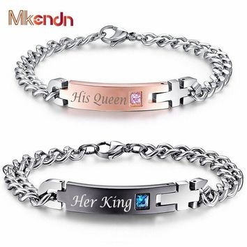 """Cool MKENDN Unique Gift for Lover """"His Queen""""""""Her King """" Couple Bracelets Stainless Steel Bracelets For Women Men JewelryAT_93_12"""