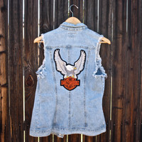 Vintage 1970's Denim Harley Davidson Patch Vest - size small medium