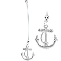 Nautical Anchor Drop Pregnant Belly Ring | Body Candy Body Jewelry