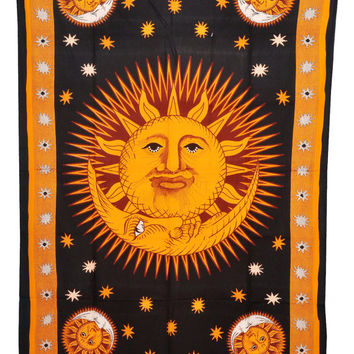 Beautiful Sun and Moon print 100% Cotton Bed cover, Tapestry ,Bed Sheet, Throw, Wall Hanging, Hippie Wall Hanging, Wall Decorative Art