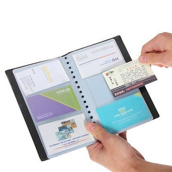 Leather 120 Cards Business Name ID Credit Card Holder Book Case Keeper Organizer = 1932801540