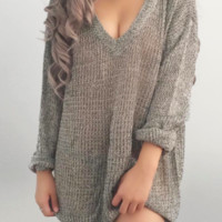 Kiki V-neck Knit Oversized Sweater (Grey)
