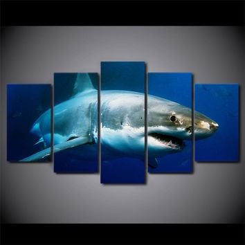 Great White Shark 5-Piece Wall Art Canvas