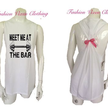 Meet Me at the Bar Workout Gym Tank Top S M L XL Plus Size 1x 2x 3x 4x 5x