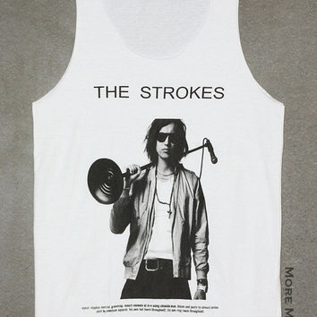 Julian Casablancas The Strokes No Sew White Tank Top Singlet Vest Tunic Sleeveless Women Tee Shirt Punk Rock Music T-Shirt Size M-L