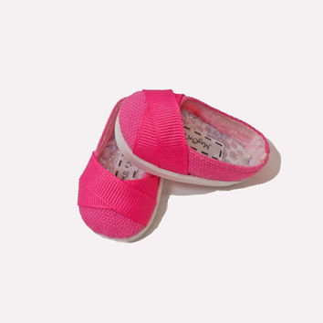 Hearts 4 Hearts Doll Shoes, Bright Pink, Fabric Shoes, Slip On Flats