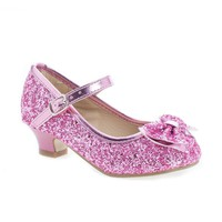 Quincy18 Pink Glitter By Sully's, Metallic Children's Girl Chunky Glitter Rock Bow Mary Jane Heels