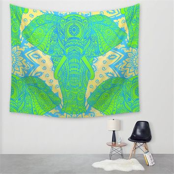 High Quality Creative India Style Color Elephant rinted Decorative Mandala Tapestry Boho Wall Carpet Hippie Wall Hanging