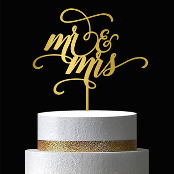 Mr and Mrs Cake Topper - Wedding Cake Topper - Wooden Cake Topper