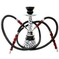 "GSTAR Premium Series: 11"" 2 Hose Hookah Complete Set - Cheetah Leopard Tiger Animal Skin Art w/ Optional Carrying Case - (White Snow Leopard)"