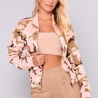 Command Your Attention Camo Jacket - Pink Camo