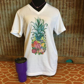 Floral pineapple t-shirt