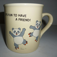It's Fun To Be A Friend Panda Bears Roller Skating Coffee Mug