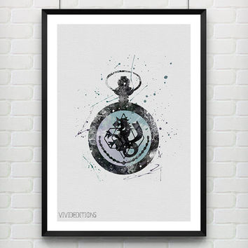 Fullmetal Alchemist Pocket Watch Poster, Watercolor Art, Anime Watercolor Print, Boys Room Wall Art Not Framed, Buy 2 Get 1 Free! [No. 70]