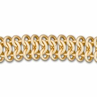 11mm Satin Hamilton Gold-Plated Chain Maille Chain By the Foot