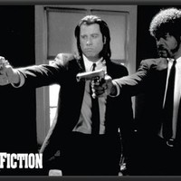 Pulp Fiction Movie (Pointing Guns)á Dry Mounted Poster Wood Framed.