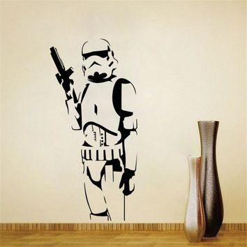 Star Wars Force Episode 1 2 3 4 5  Storm Trooper Wall Sticker Vinyl Art Decal Iconic Kid Room Sticker Decor DIY Home Decoration Wall Mural Size 42*115CM AT_72_6