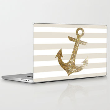 GLITTER ANCHOR IN GOLD Laptop & iPad Skin by colorstudio