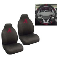 Licensed Official New NCAA Alabama Crimson Tide Car Truck Seat Covers & Steering Wheel Cover Set
