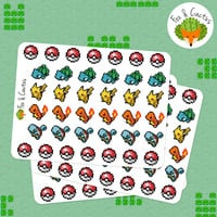 Pokemon Starter Charmander Squirtle Bulbasaur Pikachu Pixel Sticker Set - Planner Stickers - Planner Decorations - Erin Condren