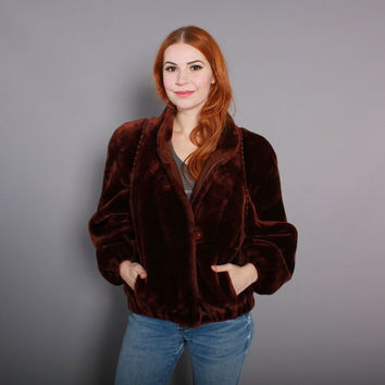 80s Brown FAUX FUR COAT / 1980s Plush Teddy Bear Winter Coat xs s