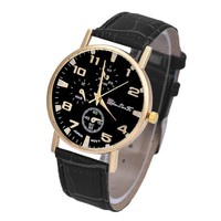 Men's Leather Band Analog Quartzsiness Wrist Watch