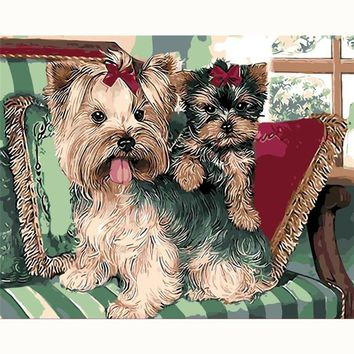 Animal pet dog and cat schnauzer painting kids gift digital oil painting home decor wall art for living room drawing by numbers