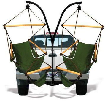 Trailer Hitch Stand and Hammaka Green Cradle Chair Comob