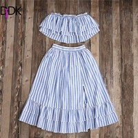 DIDK Women Two Piece Outfits Summer Ladies Sexy Striped Flyaway Bandeau Sleeveless Crop Top And Ruffle Skort Set
