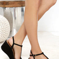 Islander Black Suede Platform Wedge Sandals