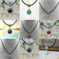 Fashion Retro Hippy Tibetan Silver Nice Pendant Necklace Leather Cord HOT For Woman