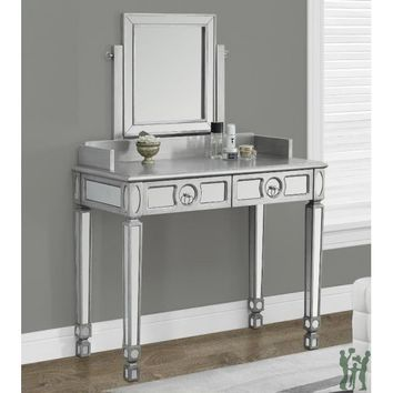 Monarch Specialties Brushed Silver/Mirrored Vanity with 2 Drawers, 36-Inch I 3711