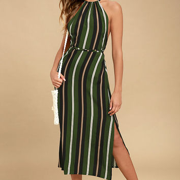 Faithfull the Brand Tuscany Green Striped Midi Dress
