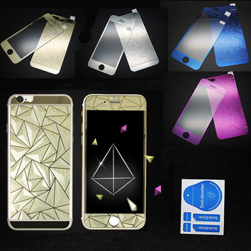 Front+Back Tempered Glass Mirror Effect Color + 3D Diamond Colorful Screen Protector Case Film for Iphone 4 4S 5 5S 6 6S Plus