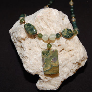 Healing Necklace Ocean Jasper Pendant with Aragonite Green Jade Ryolite New Jade Beads Orbicular Jasper Heart Chakra Reiki