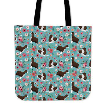 English Springer Spaniel Flower Linen Tote Bag - Promo