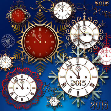30 New Year Clocks - Digital Printable Clip Art - CP-494 - Decoupage, Journaling,  Scrapbooking, Christmas Ornaments, Card Making