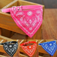 Adjustable Pet Dog Puppy Cat Triangle Neck Scarf Bandana PU Collar Neckerchief