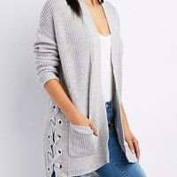 Shaker Stitch Lace-Up Sides Open Front Cardigan