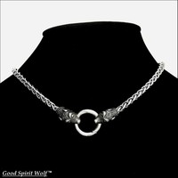 Viking Braid Stainless Steel Chain Necklace with Viking Design Wolf Head Ends and Spring Connector
