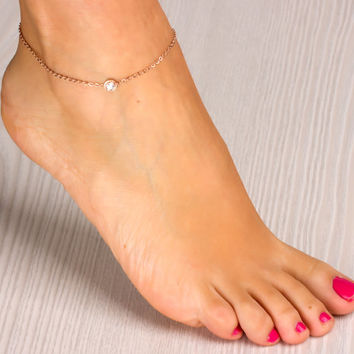 "Rose gold anklet, rose gold ankle bracelet, bridesmaid gift, crystal anklet, stainless steel anklet, love anklet, foot jewelry, ""Epione"""
