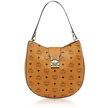 MCM Patricia Visetos Cognac Medium Hobo Bag