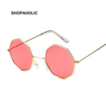 Octagon Yellow Red Round Sun Glasses for Women Mirror Retro Luxury Oval Small Sunglasses Women Brand Designer Oculos De Sol