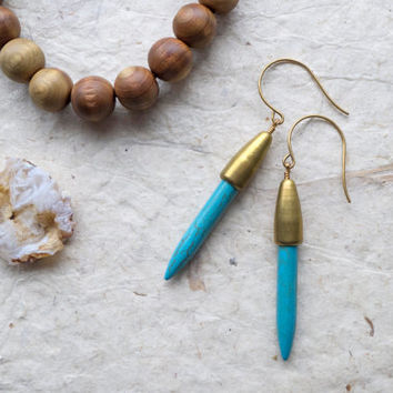 Turquoise spike earrings, brass, boho earrings, turquoise jewelry, tribal,bullet shell, spear, gifts under 50, indie jewelry, dangle